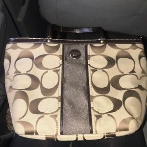 Coach Purse - Brown & beige/tan